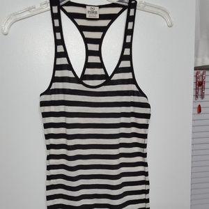 PINK/VS tank black/white stripe